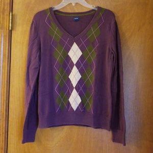 WOMEN'S Izod Purple Argyle Large Sweater